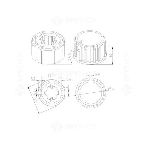 Adaptor rotund pentru motor tubular CFT-AD-50