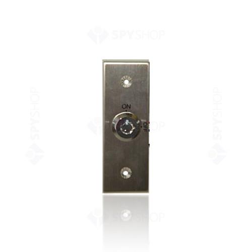 Buton cerere iesire cu cheie GEovision PB21K, aluminiu