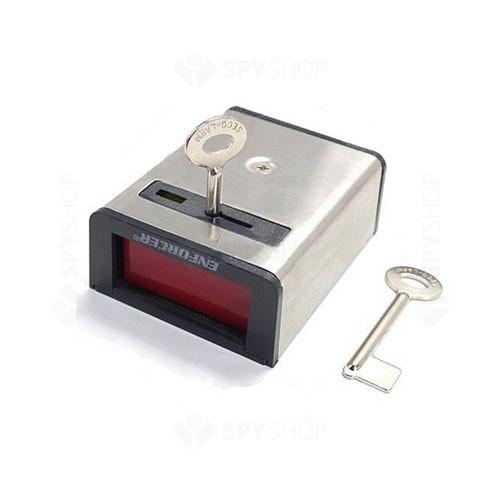 Buton de panica cu memorie mecanica Seco-Larm SS077, 2 chei, SPST, otel inoxidabil