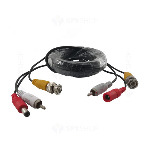 Cablu video mufat, 20 m (RCA+ALIMENTARE)