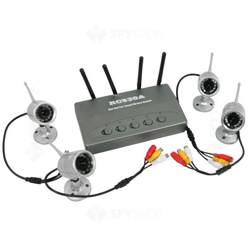 Set 4 camere wireless cu night vision si 380 ltv