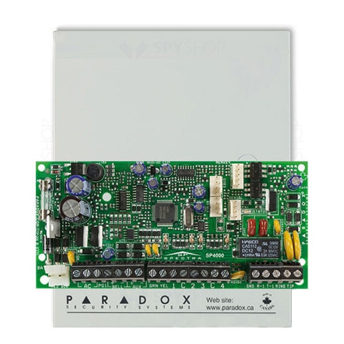 Centrala alarma antiefractie Paradox Spectra SP4000, carcasa metalica cu traf, 4 zone, 2 partitii, 256 evenimente