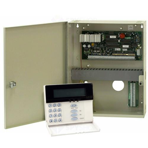 Centrala alarma antiefractie DSC Maxsys PC 6010 cu tastatura LCD 6501 si cutie metalica, 32 partitii, 16 zone, 1000 utilizatori