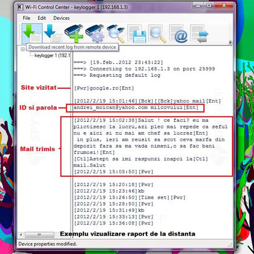 Keylogger PS2 2GB WiFi cu data si ora