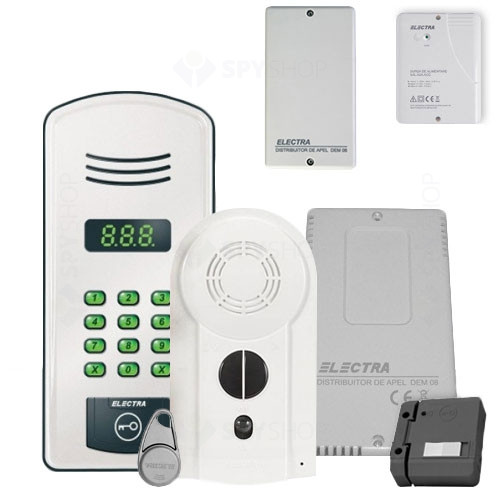 Kit interfon de bloc Electra KIT.20A.Y22, 20 familii, RFID, 40 tag-uri
