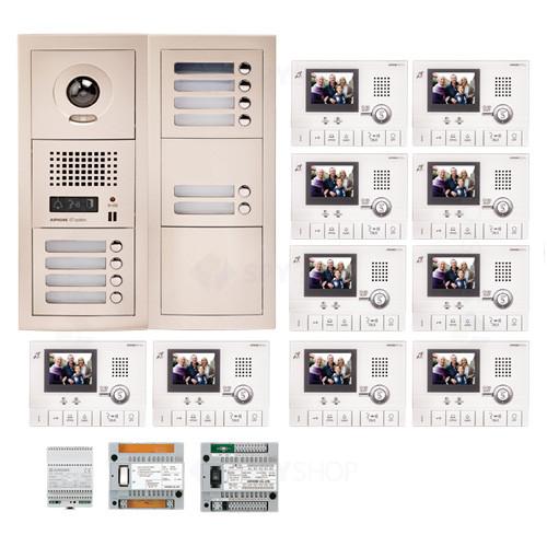 Kit videointerfon cu 10 posturi de interior Aiphone GTV10F
