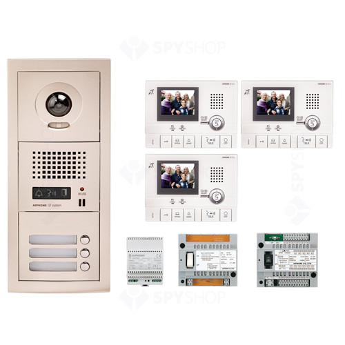 Kit videointerfon cu 3 posturi de interior Aiphone GTV3F