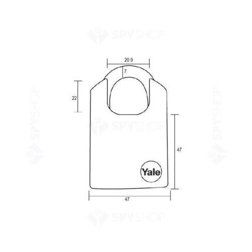 Lacat de alama cu veriga protejata YALE Y121/40/125/1, cheie, interior/exterior
