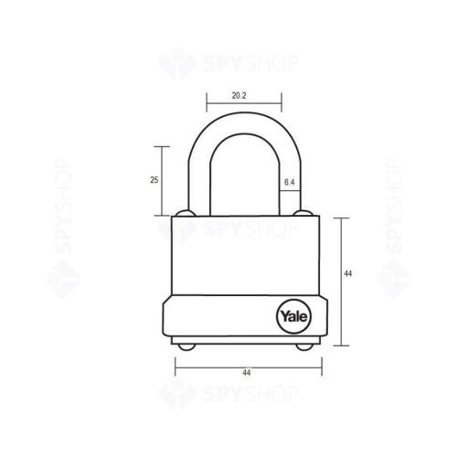 Lacat din otel YALE Y125/40/122/1, cheie, interior/exterior