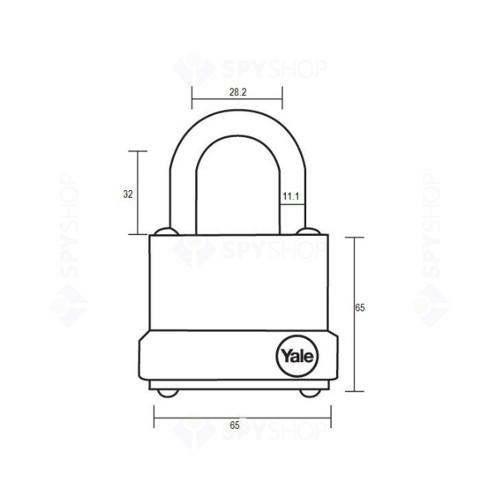 Lacat din otel YALE Y125/60/133/1 cheie, interior/exterior