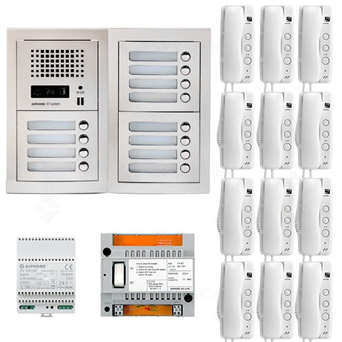 Set interfon de interior Aiphone GTA12E, 12 familii, bloc