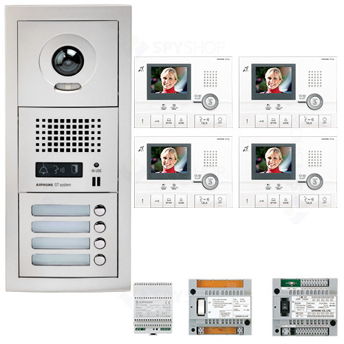 Set videointerfon Aiphone GTV4E, 4 familii, 3.5 inch, aparent