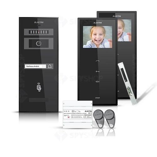 Set videointerfon Electra Smart VID-ELEC-29, 1 familie, aparent, ecran 3.5 inch