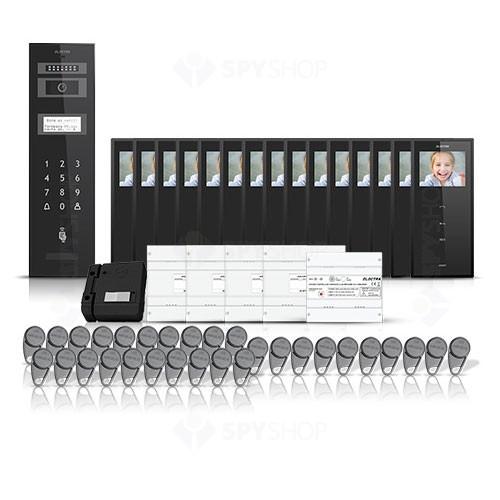 Set videointerfon pentru bloc Electra Smart VID-ELEC-27, 15 familii, aparent, 3.5 inch