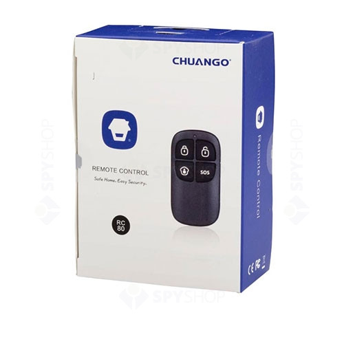 Set 2 telecomenzi wireless cu 4 butoane Chuango RC-80, 315/433 MHz, 80 m, plastic ABS