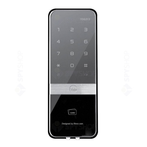 Yala digitala pentru usa de sticla YALE YDG313, protectie anti-soc electric, 4 cartele