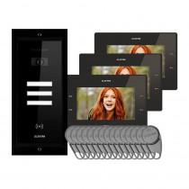 Kit videointerfon Electra Touch Line Smart+ VKM.P3FR.T7S4.ELB04, 3 familii, ingropat, 7 inch