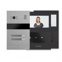 Kit videointerfon Slinex MA02+2xSM-04M-B, 2 familii, ingropat, ecran 4 inch