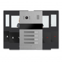Kit videointerfon Slinex MA-04+4xSM-04M-B, 4 familii, ingropat, ecran 4 inch