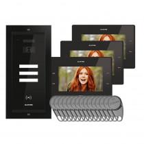 Kit videointerfon Electra Touch Line Smart+ VKM.P3FR.T7S4.ELB, 3 familii, ingropat, ecran 7 inch