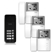 Set videointerfon Commax AN4BE-3F, 4 familii, 4 inch, aparent