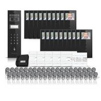 Set videointerfon pentru bloc Electra Smart VID-ELEC-28, 20 familii, aparent, ecran 3.5 inch