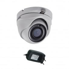 Camera supraveghere Dome Hikvision DS-2CE56H0T-ITMF, 5 MP, IR 20 m, 2.8 mm + alimentator