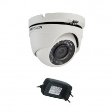 Camera supraveghere Dome Hikvision TurboHD DS-2CE56C0T-IRMF, 1 MP, IR 20 m, 2.8 mm + alimentare
