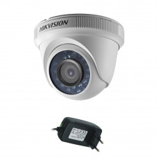 Camera supraveghere Dome Hikvision TurboHD DS-2CE56D0T-IRPF, 2 MP, IR 20 m, 2.8 mm + alimentator