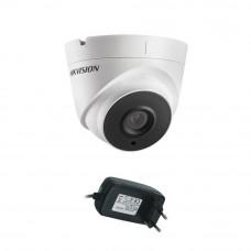 Camera supraveghere Dome Hikvision TurboHD DS-2CE56D0T-IT3F, 2 MP, IR 40 m, 2.8 mm + alimentator