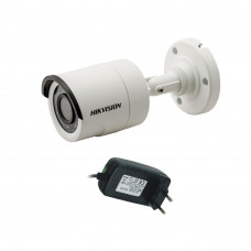 Camera supraveghere exterior Hikvision TurboHD DS-2CE16C0T-IRPF, 1 MP, IR 20 m, 2.8 mm + alimentator