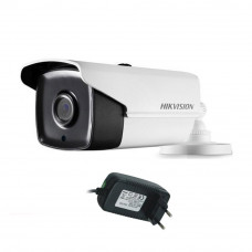 Camera supraveghere exterior Hikvision TurboHD DS-2CE16C0T-IT3F, 1 MP, IR 40 m, 2.8 mm + alimentator