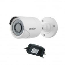 Camera supraveghere exterior Hikvision TurboHD DS-2CE16D0T-IRPF, 2 MP, IR 20 m, 2.8 mm + alimentator