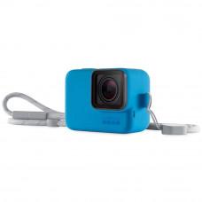 Husa din silicon albastra cu snur pentru GoPro Hero7