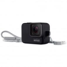 Husa din silicon neagra cu snur pentru GoPro Hero7