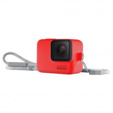 Husa din silicon rosie cu snur pentru GoPro Hero7