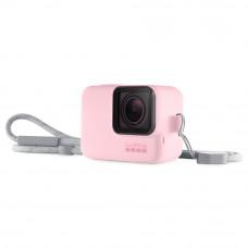 Husa din silicon roz cu snur pentru GoPro Hero7