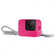 Husa din silicon roz electric cu snur pentru GoPro Hero7