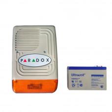 Kit sirena de exterior cu acumulator Paradox PS 128 + AC 7AH, 128 dB, 7 tonuri, 12V 7Ah