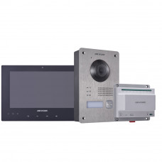 Kit videointerfon Hikvision DS-KIS701, touchscreen, 2 fire, 7 inch