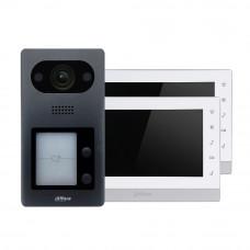 Kit videointerfon IP Dahua 1XVTO3211D-P2+2XDH-VTH1550CH, 2 familii, aparent, 7 inch