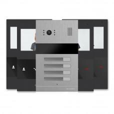 Kit videointerfon Slinex MA-04+4xSQ-04M-B, 4 familii, ingropat, 4.3 inch