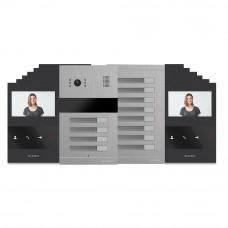 Kit videointerfon Slinex MA-04+MA-8+12xSQ-04M-B, 12 familii, ingropat, 4 inch