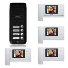 Set videointerfon Commax CNM-4F, 3 familii, 4 inch, aparent