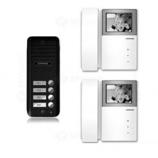 Set videointerfon Commax AN4BE-2F, 4 familii, 4 inch, aparent