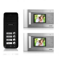 Set videointerfon Commax CQM-2F, 2 familii, 4 inch, aparent