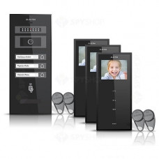 Set videointerfon Electra Smart VID-ELEC-21, 3 familii, aparent, 3.5 inch