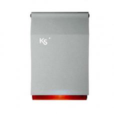 Sirena de exterior piezoelectrica cu flash Ksenia IMAGO BUS SILVER RED, KS-BUS, 100 dBA, IP43