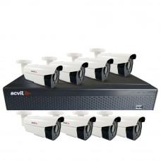 Sistem supraveghere exterior basic Acvil B8EXT60-5M, 8 camere, 5 MP, IR 60 m
