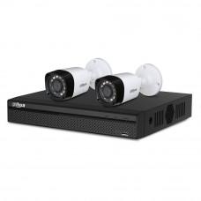 Sistem supraveghere exterior basic Dahua DH-B2EXT20-4MP, 2 camere, 4 MP, IR 20 m